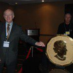 MunKNEE.com Editor-in-Chief Lorimer Wilson with the world's first 100-kg, 99999 pure gold bullion coin with a $1 million face value. It was produced by The Royal Canadian Mint.